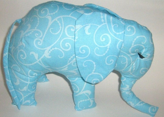 Light Blue Elephant  Shipping Special  White Scroll Design Stuffed Animal  Plush No Buttons