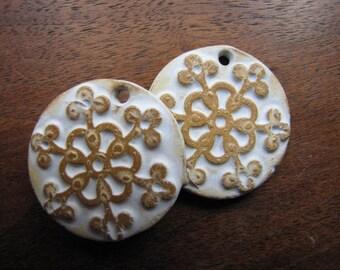 Snowflake Pendant, Stoneware Pendant, Earthy Snowflake Pendant, Art Bead, The Classic Bead