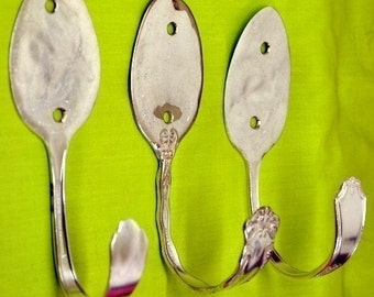 3 Modern Decor Recycled Art Tablespoon Coat Hooks