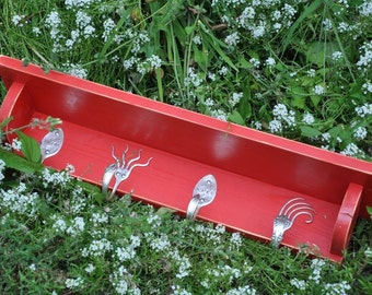 Enjoy Life SILVERWARE Hooks Coat Rack with Shelf in Distressed Red