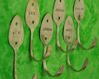Art Attack 6 Modern Spoon Hooks Personalized