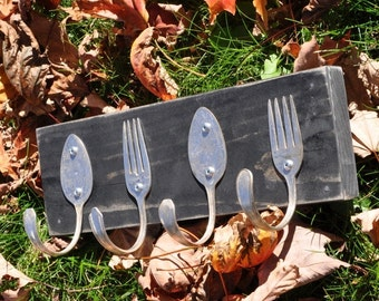 Distressed Spoon and Fork Coat Rack Black