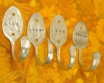Live Laugh Love Dream 4 Spoons hooks PERSONALIZED
