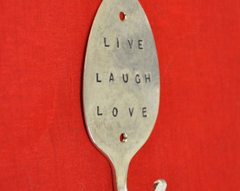 LIVE LAUGH LOVE Stamped Spoon Hook
