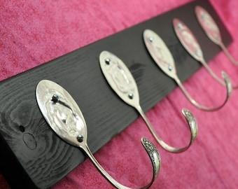 BEAUTIFUL Black Coat Rack with 5 Hammered Forks Rock On Special order for Kristen