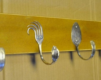 Spoon and Funky Fork Hooks 24 inch Distressed Mustard Yellow Rack