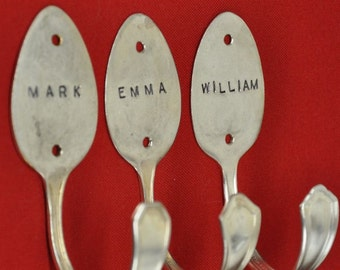 3 Personalized Tablespoon Hooks