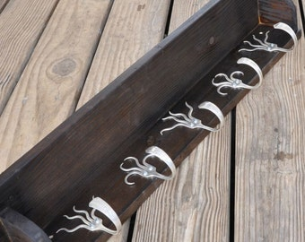 5 Fork Hook Coat Rack with Shelf Stained Brown Black
