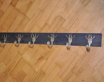 6 Funky Forks Coat Rack Stained Blue