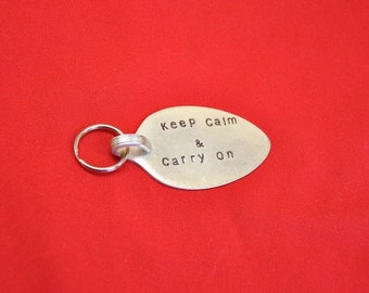 PERSONALIZED Hand Stamped Spoon Keychain Keep Calm and Carry On