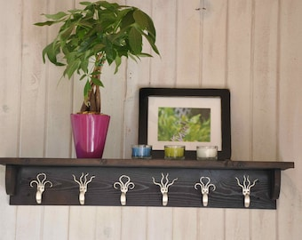 6 Fork Hook Coat Rack with Shelf in Stained Brown Black