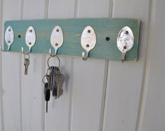 Rad Spoon  Key Rack Distressed Turquoise Stain