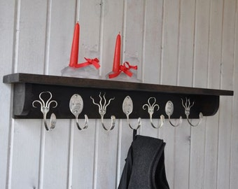 3 Personalized Spoon Hooks and 4 Funky Fork Hooks Coat Rack with Shelf