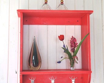 Beautiful Handmade Red Shelf with Funky Fork Hooks