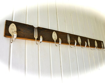 Weathered Coat Rack With Forks and Personalized Spoon Hooks