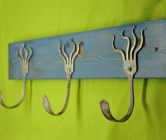 funky forks coat rack stained blue by jjevensen on etsy