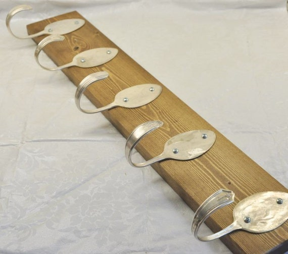 BEAUTIFUL Coat Rack with 5 Hammered Table Spoons Stained Brown