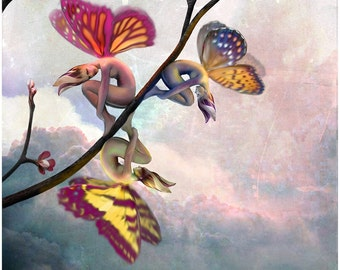 GRACING THE DAWN Fine Art Print of Faeries, Spring, Fantasy Cherry Blossoms