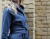 Be Cozy Hemp Organic Cotton Wrap Sweater in Dark Grey