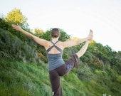 CrossBack Yoga Fitness Tank in Bamboo Organic Cotton Soft Grey