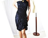 Indigo Silk Dress- Lily on Cloud 9 - Haute Couture - Romantic Summer fashion - Dark navy Blue - Midnight - Ruffled tube dress - Convertible look into Strapless or with a shoulder strap