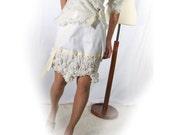 White Smocked Skirt Cloud 9 Ruffled cotton haute couture bohemian chic - victorian modern design -