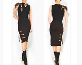 Gladiator Goddess Dress - Sultry Black Jersey  - Indie Fashion Design - Strappy Romantic - Formal
