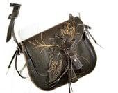 50% off SALE Brown Leather Shoulder Bag Handmade to Order messenger ANGEL Wings