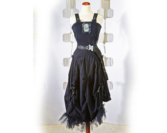 Black Dress jersey  - ruffled and romantic - steampunk gothic chic burlesque burleski