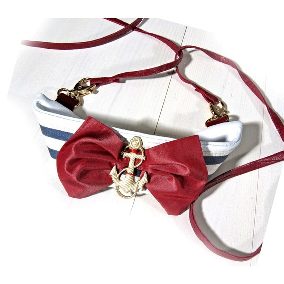 Sea Side Nautical Bow Choker - Blue white and red - Sweet Summer fashion accessory -