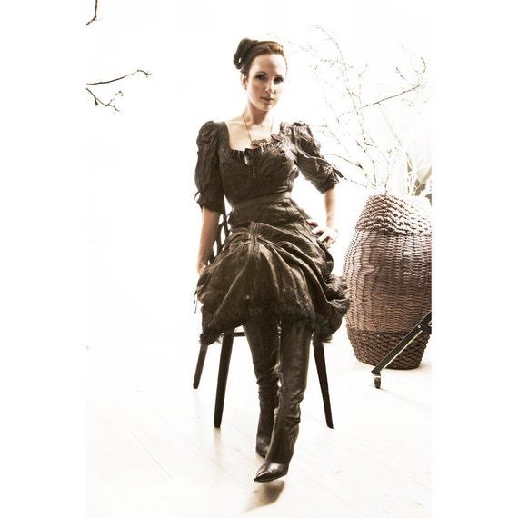 SALE Silk Dress SAVU  Handmade Black smoke hustle bustle romantic Victorian modern fashion Design