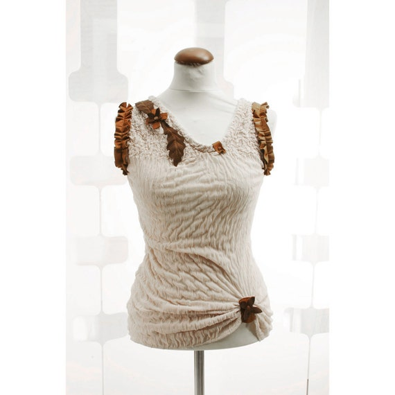 SALE Ruched Beige Top no2 OOAK Honey beehive blouse Spring Summer timeless Fashion wear