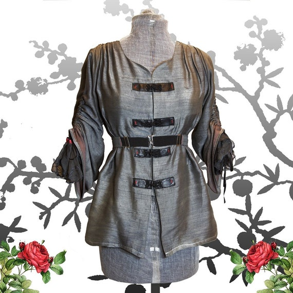RESERVED for Mary-Margaret GRAPHITE  Silk tunic Handmade Post apocalyptic Coal Miners Daughter  TAO romantic