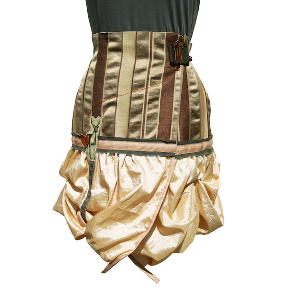 One of a Kind GI Bambi Bustle Skirt - Romantic Striped Militant Victorian femme Urban Fairy tale fashion - Buttercup Cream brown Gold Taupe ruffled Bohemian Art Wear