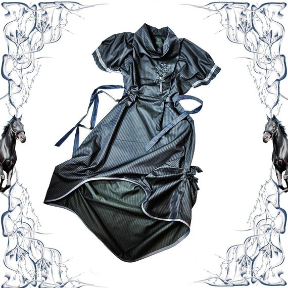 Dandy Manifesto Sculptural Silk Dress - Pinstriped Blue Victorian Modern
