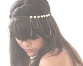 Bridal Headband Hair Jewelry Pearl Antique Bronze Chain Headwrap Headpiece 3 Loop Burlesque - by Sophia Touassa Millinery & Accessories