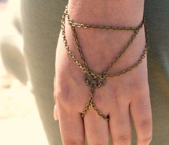 Slave Bracelet Hand Bracelet Piece Hipster Bronze Chain Bohemian Centerpiece Hand Jewelry Drape