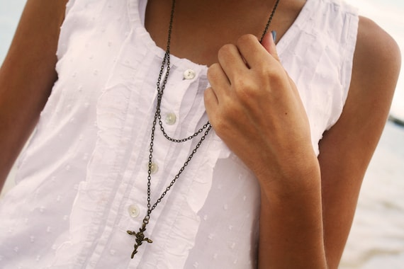 Cross Necklace Bohemian  Hipster Boho Rosary Rose Charm Bronze Chain Jewelry