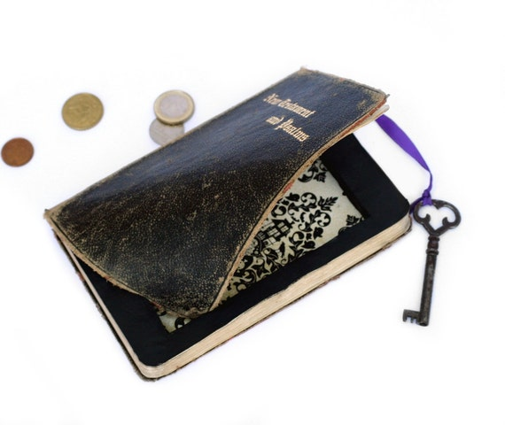 Bible Hollow Book with Vintage Skeleton Key - Secret Stash Box (Vintage Book - New Testament and Psalms Bible) - READY TO SHIP