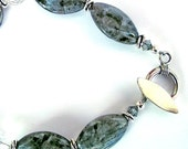 Canadian Blue Opal (Larvikite) Rock Crystal Quartz Bracelet