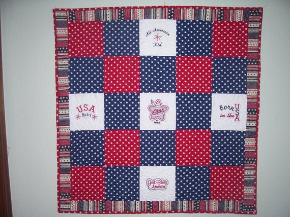 PATRIOTIC BABY EMBROIDERED Baby Quilt