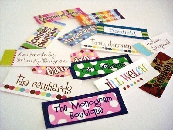 Iron-on clothing and fabric labels - set of 42 (smallest set) - several template options