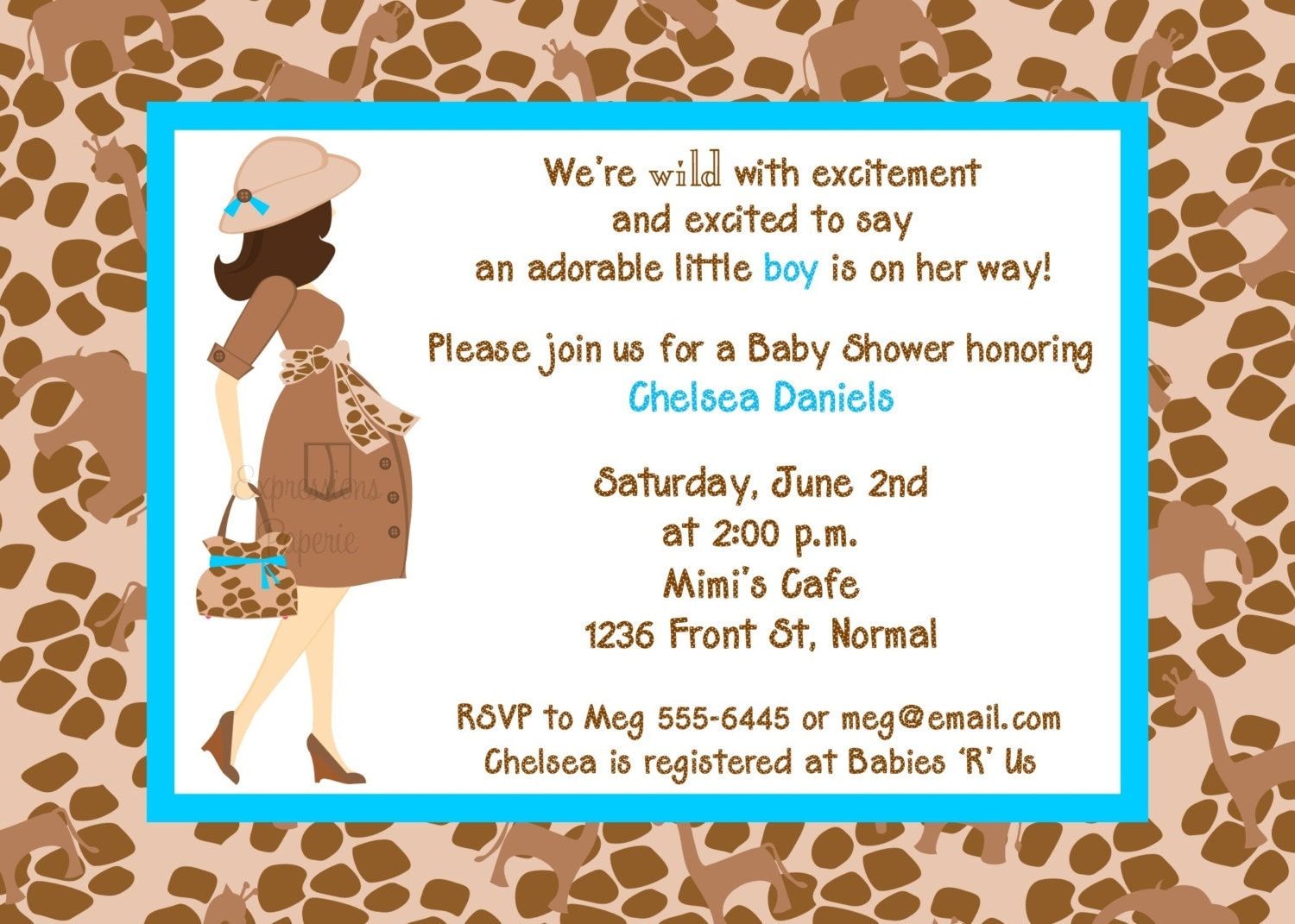 blue safari mommy to be baby shower invitations