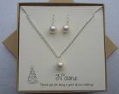 Customize Your Colors - Swarovski Pearl Bridal Set - Necklace with Matching Earrings - Perfect for Bridesmaids - Personalized Jewelry Card and Box