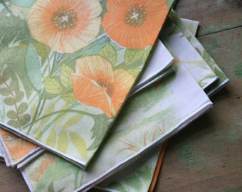 Poppies Butterflies and Trees - Cloth NAPKINS of Vintage Fabric - Set of 9