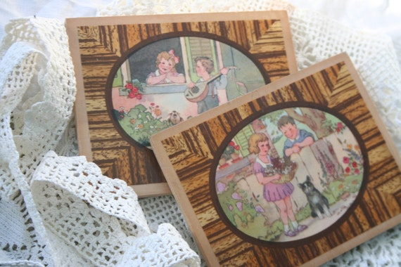 SALE - Vintage Whimsical Children PLAQUES / Wooden Pictures