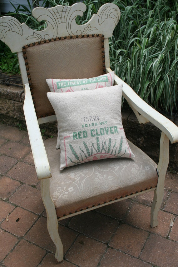 Reserved for JoAnn - Red Clover, FEEDSACK PILLOW Cover - 14 Inch