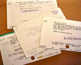 25 Vintage Library Card Catalog Cards