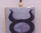 Taurus Recycled Scrabble Tile Pendant