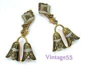 Vintage Earrings Damascene Style Spain clip on